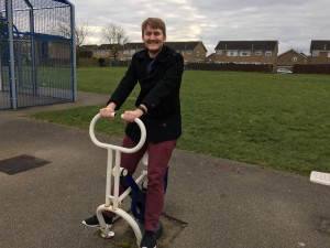 Leo is pictured visiting one of the play areas in Newport Pagnell North and Hanslope Ward.