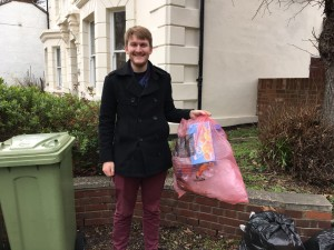 Leo Montague is delighted that the Lib Dems saved the pink sack recycling scheme.
